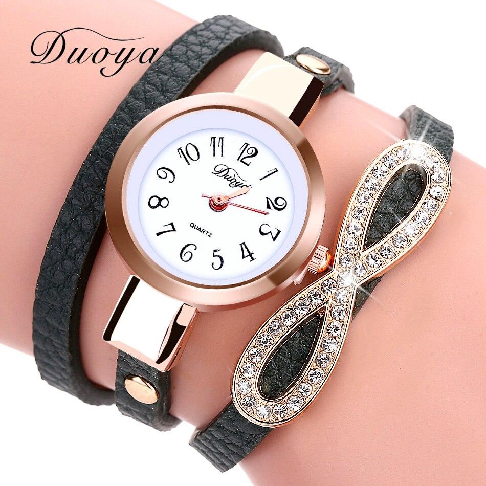 Duoya brand new fashion watch women luxury leather bracelet watch women dress casual classic for Women casual watches