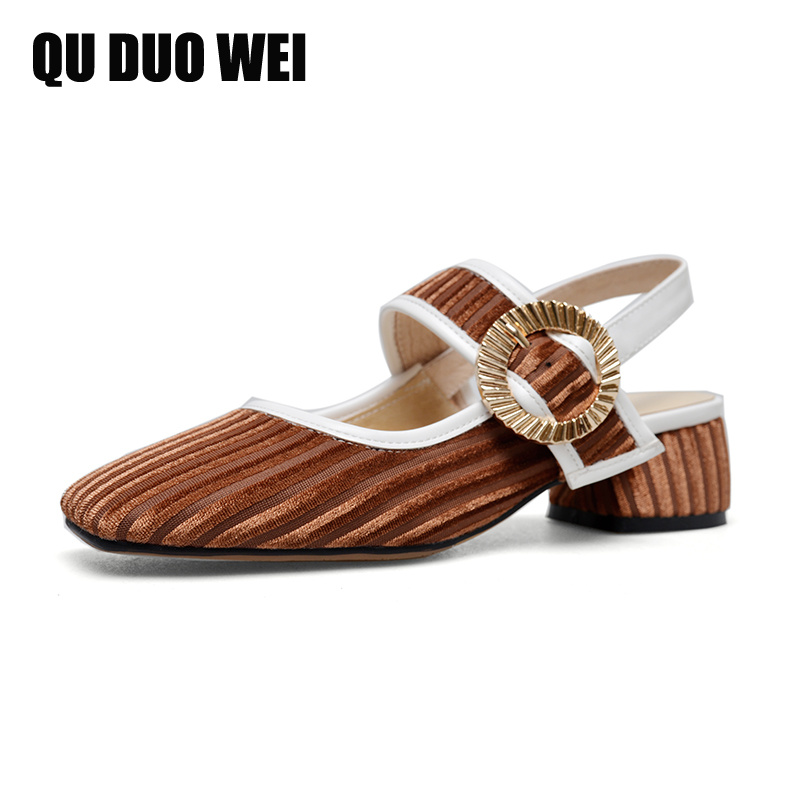 2018 New Genuine Leather Women Sandals Mary Jane Style Pigskin Metal Decroation Square High Heels Sandals Causal Party Shoes