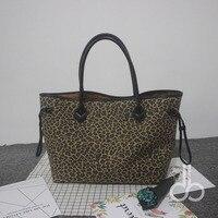Groothandel Blanks Luipaard Draagtas Cheetah Vrouwen Handtas met Zwart PU Lederen Handvat DOM103388