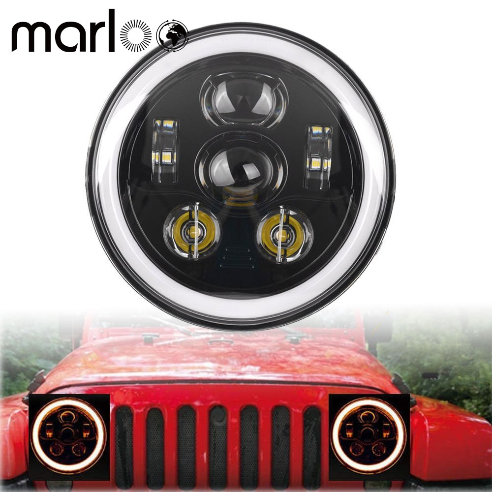 Marloo For Jeep Wrangler 7 Inch 90W LED Headlights JK TJ LJ Unlimited Sport Sahara Rubicon White Amber Turn Signal Headlamp j165 cowl body armor powder coated finish outer cowling cover for jeep wrangler jk rubicon sahara