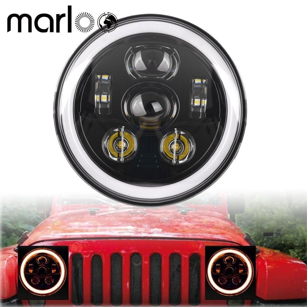 Marloo For Jeep Wrangler 7 Inch 90W LED Headlights JK TJ LJ Unlimited Sport Sahara Rubicon White Amber Turn Signal Headlamp