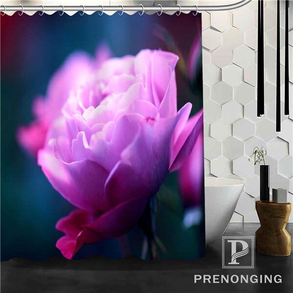 Purple Rose Shower Curtain Fabric Waterproof Mildewproof Modern bathtub Bathroom Curtain @74 Multi Size S-171216*05-41