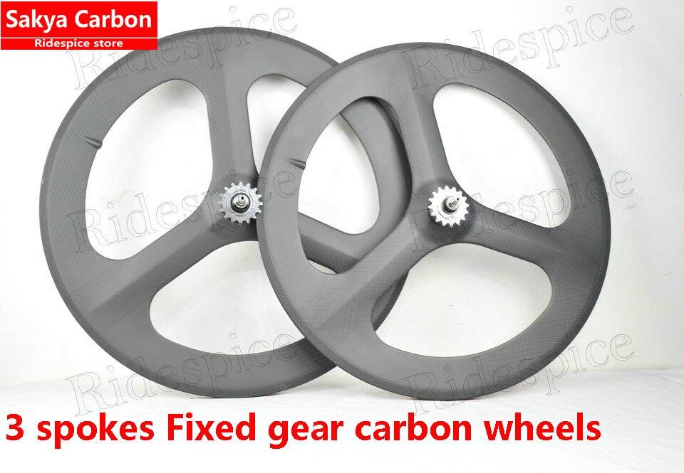 Цена за Колеса углерода 3 спицы Фиксированных передач колеса углерода колесо 3 ГОВОРИЛ Clincher/трубчатые, для Дорожного велосипеда