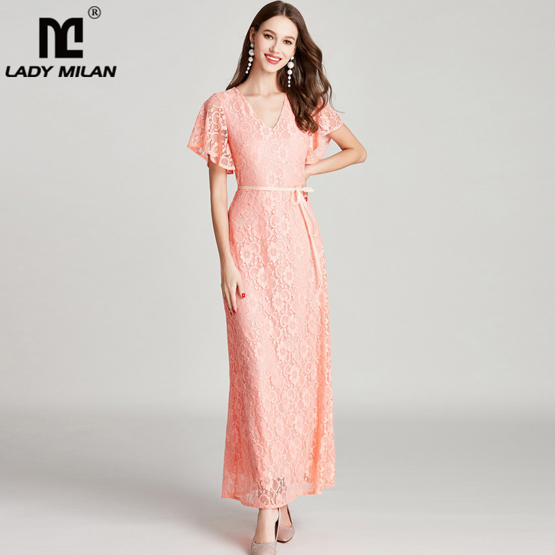 New Arrival 2018 Sexy V Neck Short Sleeves Embroidery Lace Fashion High Street Long Dresses