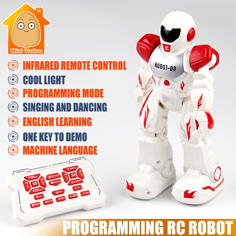 Minitudou Multifunctional Remote Control Robot Singing Dancing Robot With Music Light RC Toys Action Figures Gift For Boys Girls