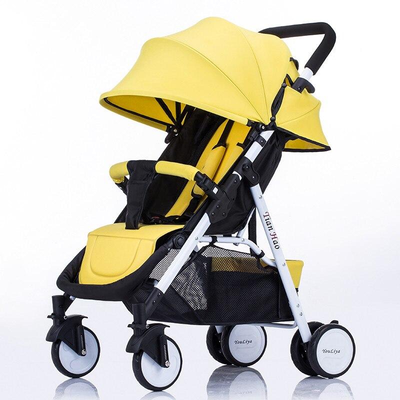 Poussette bébé pliable Portable de luxe légère réglable poussette de voyage landau parapluie rose poussette
