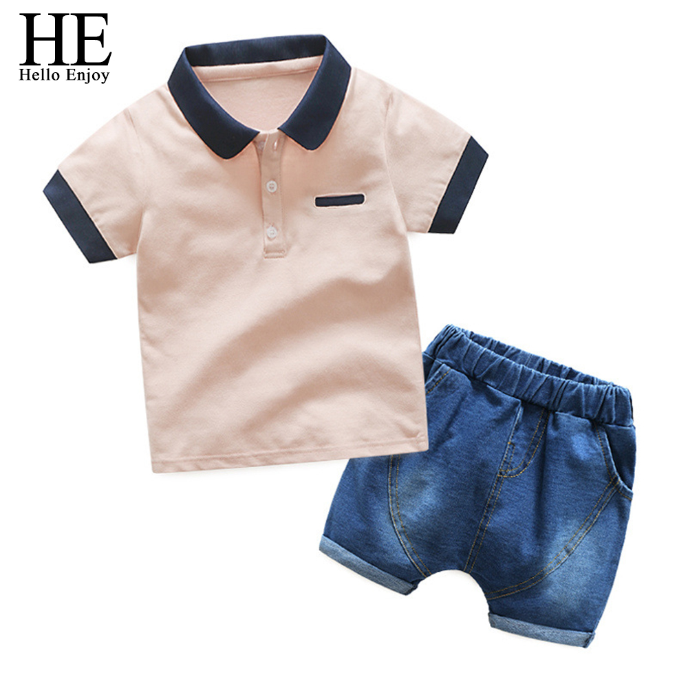 baby boy outfit Summer toddler boys clothing sets T-shirt+Denim shorts exercise two-piece suit costume for kids children clothes