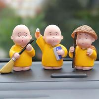 3PCS/Set Mini Monk Resin Crafts Fairy Garden Figurines Miniature Ornament DIY Craft Home Office Car Decoration