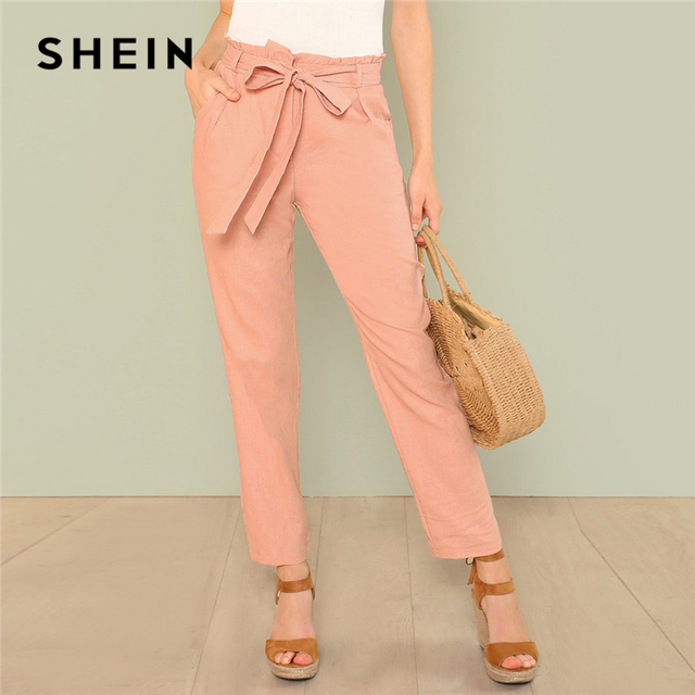 0dbcfa8d7d9 SHEIN Pink Self Belted Pocket Side Frill Pants Casual Cotton High Waist  Trousers Women Plain Minimalist