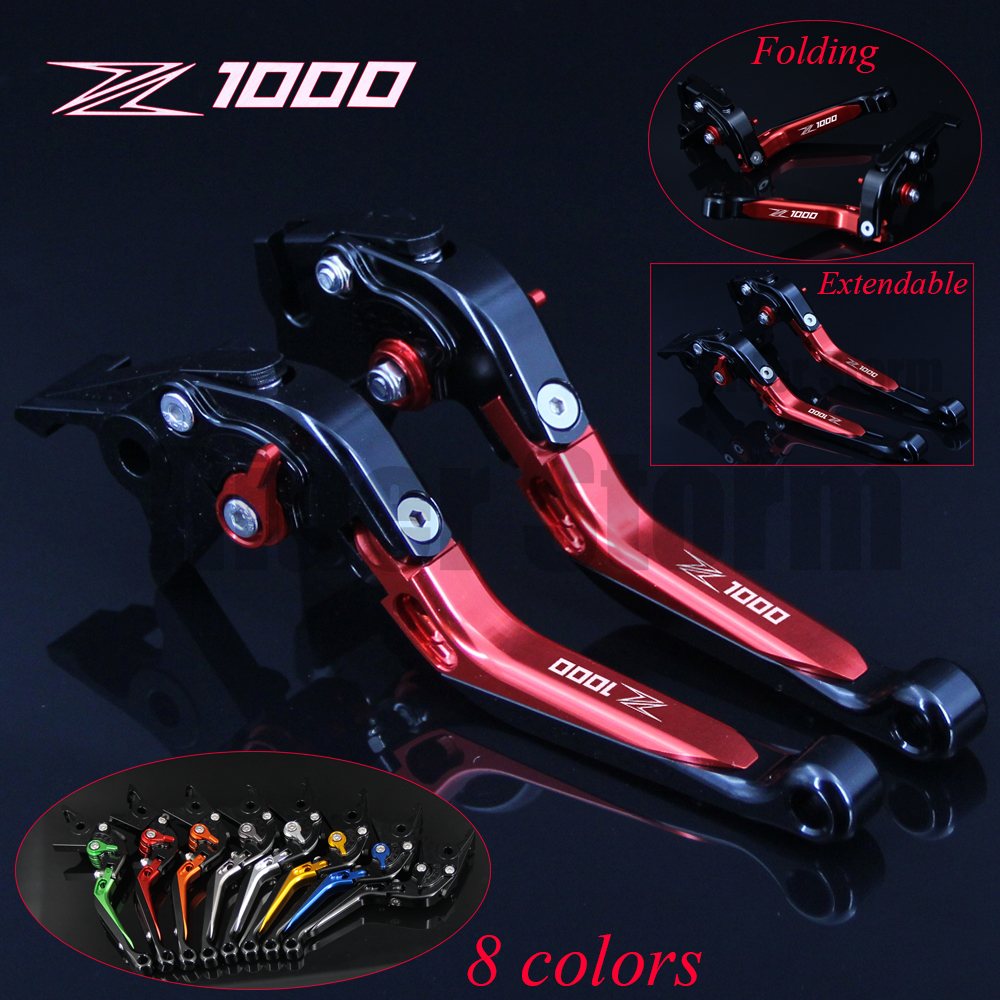 Hot sales Logo Z1000 8 Colors CNC Folding Extendable Motorcycle Brake Clutch Levers For Kawasaki Z1000 2003 2004 2005 2006