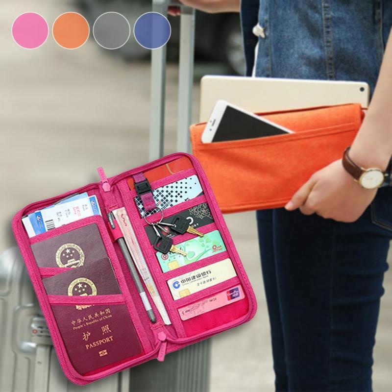 Portable Travel Passport Cover Credit Card Package ID Holders Storage Bag Organizer Cash Wallet Purse Zipper Money Bag Case