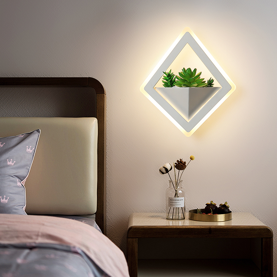Modern LED wall lamp Acrylic 10W send simulation plant indoor light bedroom study corridor porch balcony