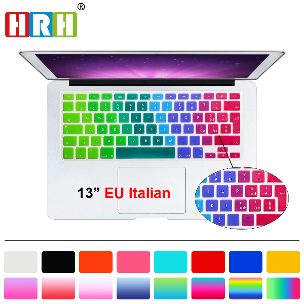 HRH Italian Language Silicone EU Keyboard Skin Cover Protector For MacBook Pro 13 15 17 Aluminum Unibody for MacBook Air 13