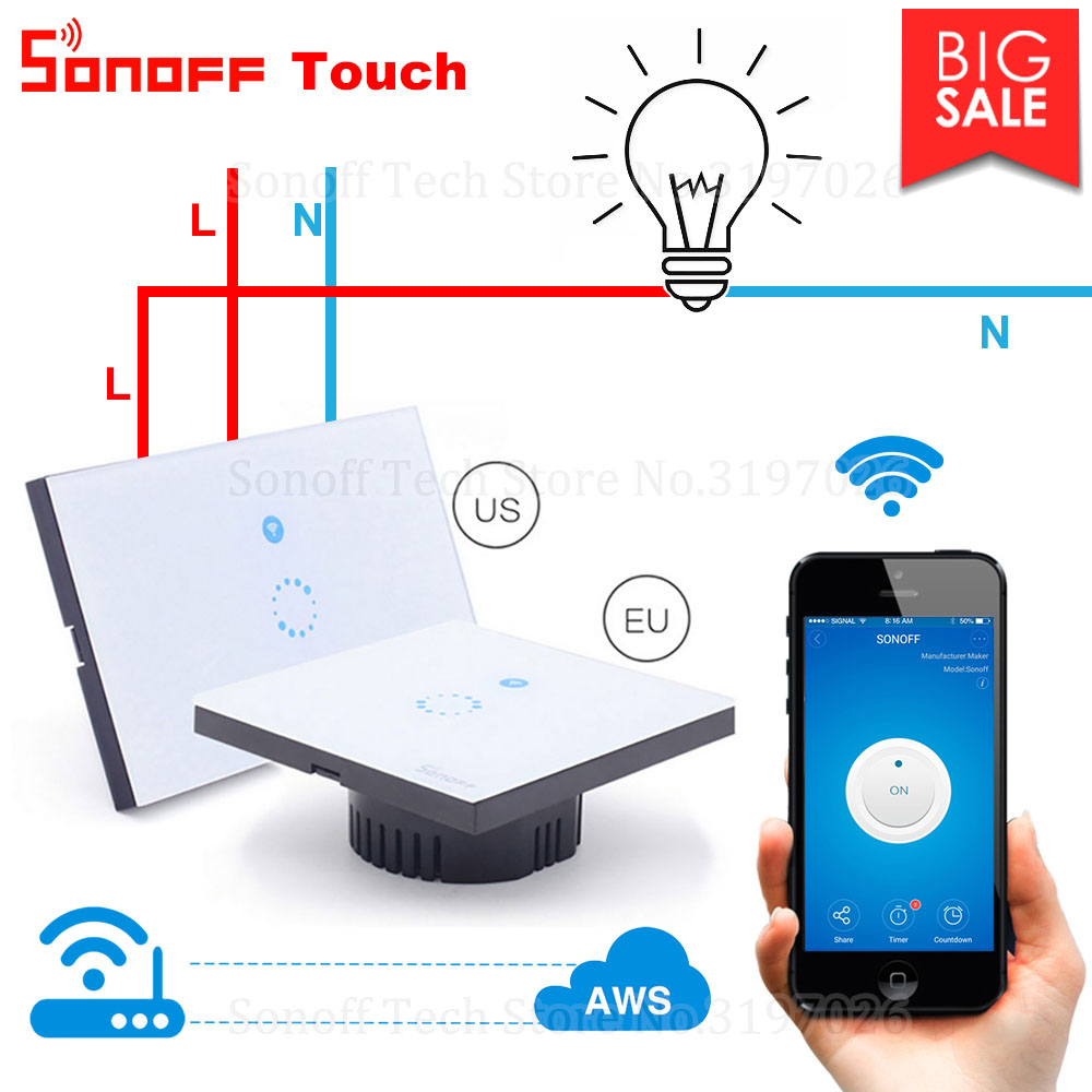 Itead Sonoff Touch EU US Wifi Wall Touch Switch 1 Gang 1 Way Wireless Remote Light Relay