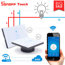 Itead Sonoff Touch EU US Wifi Wall Touch Switch 1 Gang 1 Way Wireless Remote Light Relay App Control Work with Alexa Google Home(China)