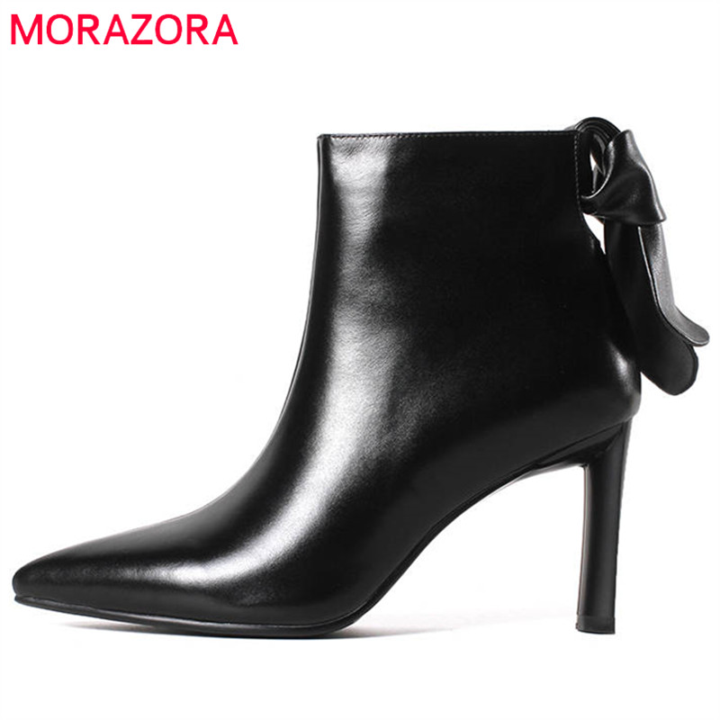 цена на MORAZORA 2018 genuine leather ankle boots for women pointed toe autum winter boots zipper high heels boots fashion dress shoes
