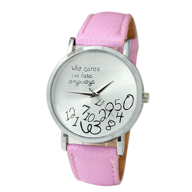 Superior New PU Leather Watch Who Cares I Am Late Anyway Letter Wrist Watches For Women June 24