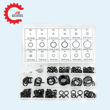 JQ 225pcs Black NBR o ring o-ring o-rings Washer Seals Watertightness Assortment Different Size With Plactic Box Kit Set 225pcs rubber o ring r22 r134a car air conditioning washer seals assortment purple