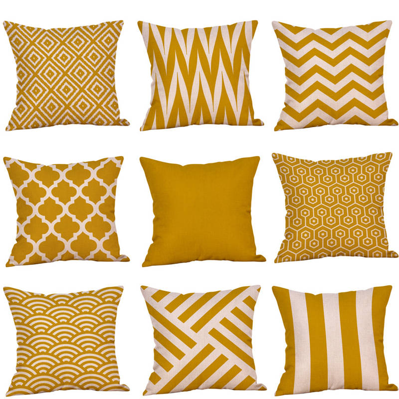 New Arrival Mustard Pillow Case Yellow Geometric Fall Autumn High Quality Home Bedroom Winter Warm Festive Wedding Pillows Hotp#
