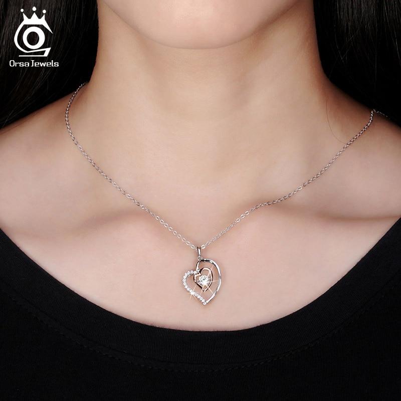 ORSA JEWELS Pravi 925 srebrna dvostruko srce privjesak ogrlica s 0,3 - Modni nakit - Foto 6