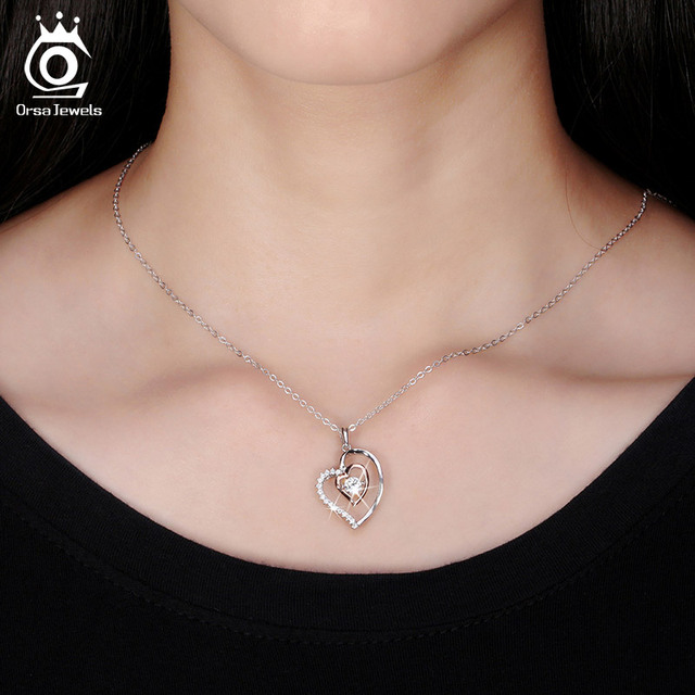Silver Heart Shaped Pendant Necklace