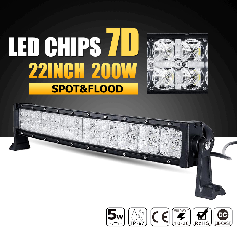 Oslamp 7D Curved 22inch 200W LED Light Bar Combo Beam Led Work Light Driving Lamp 12v 24v ATV Truck SUV 4x4 4WD Offroad Led Bar светильник настенно потолочный eglo 83405