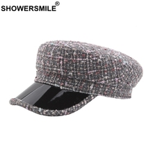 SHOWERSMILE Women Military Hat Vintage Plaid Ladies Captain Cap Black Knitted Army Fitted Female Patchwork Flat Autumn