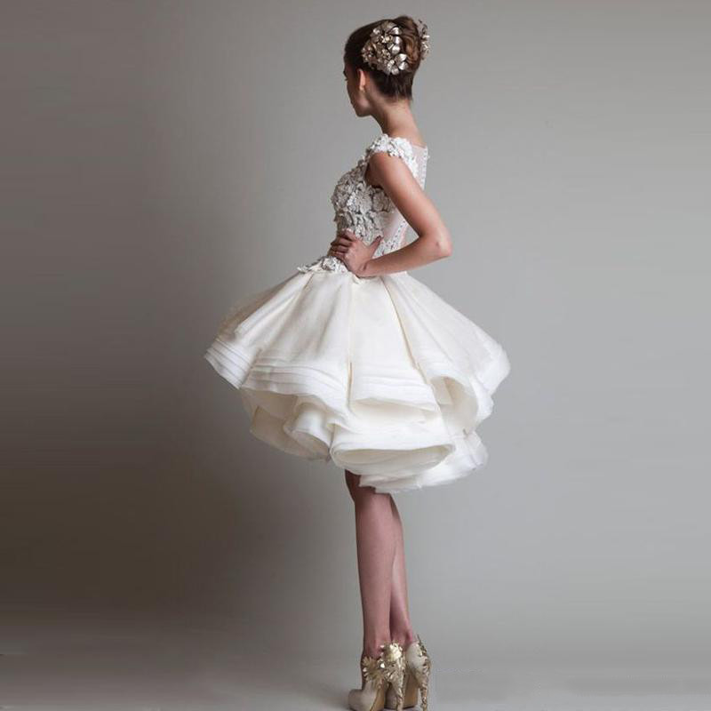2016 White Cocktail Dresses Jewel Sleeveless Appliques SexyBack Short Tutu Tulle Skirts Mini Evening Ball Gowns Formal Party Dresses