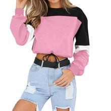 Casual Pullover Tops Winter Women Warm Sweatshirts Women's Long Sleeve Patchwork O Neck Sweatshirt
