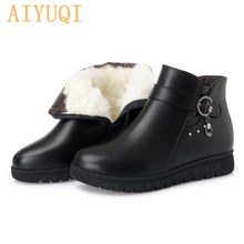 AIYUQI Black ankle boots Womens snow 2019 genuine leather women winter  large size Australia wool