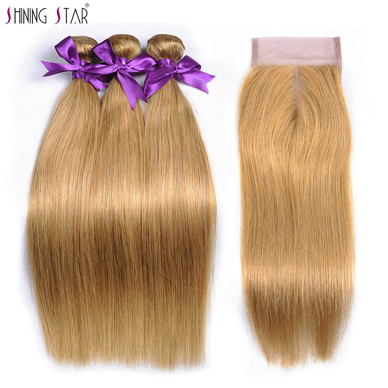 Shining Star Straight Honey Blonde 3 Bundles With Closure Color 27 Human Hair Bundles With Closure Peruvian Hair Weave Non Remy