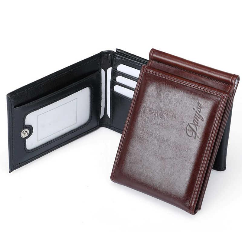 DANJUE erkekler para klipleri Trifold Pu deri erkek çanta çok fonksiyonlu kredi kartı cüzdan kısa kart durumda kartvizitlik banka kartı