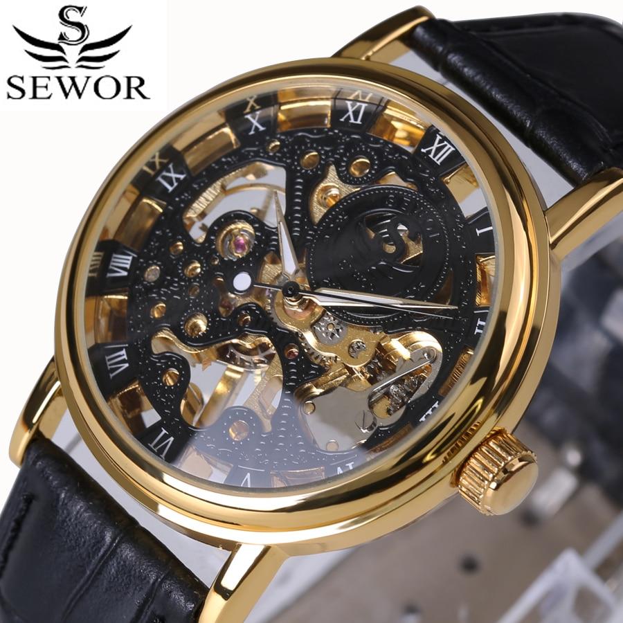 Luxusní značka Sportovní hodinky Roman Numerals Dial Muži Mechanické Ruční vítr Hodinky Skeleton Vintage Hodinky Kožený řemínek 2017 Nové