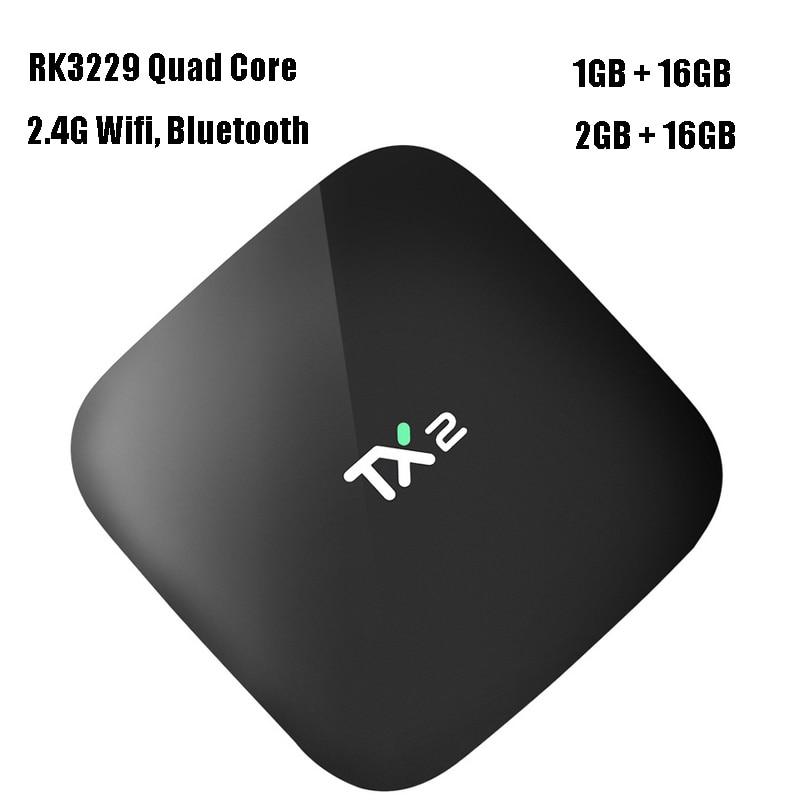 2pcs/lot Android 6.0 TV Box 2G 16GB Rockchip RK3229 Quad Core TX2 Smart Mini PC 2.4G Wifi 4K Streaming Media Player TVbox