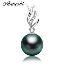 6399d2147 AINUOSHI 925 Sterling Silver Women Necklace Pendants Natural South Sea  Black Tahiti Pearl 10mm Round Pearl Christmas Pendants