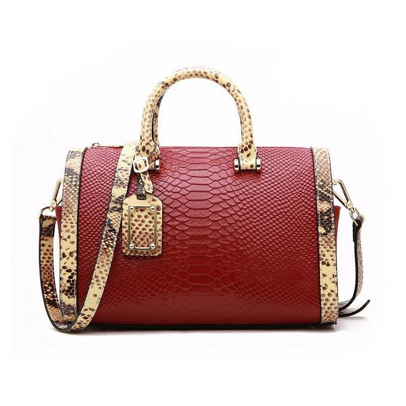 Femmes en cuir véritable sacs Boston sac à main marque sacs à bandoulière motif serpent dames mode Messenger sacs sacoche sacs à bandoulière-in Sacs à bandoulière from Baggages et sacs    1