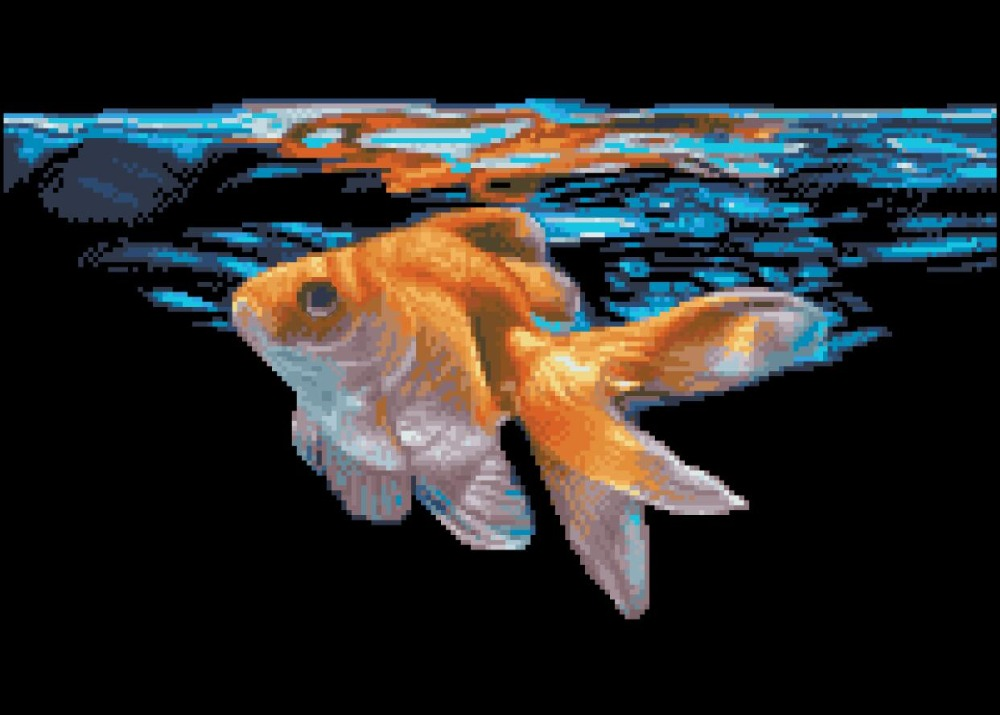 Goldfish In The Water Cross Stitch Package Animal 18ct  14ct 11ct Black Cloth Cotton Thread Embroidery DIY Handmade Needlework