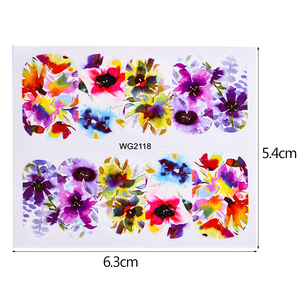 Image 2 - 45pcs Mixed Designs Full Charms Sticker Nail Art Water Decals Deep Color Flower Rabbit Cartoon DIY Decor Manicure Tips TRWG45