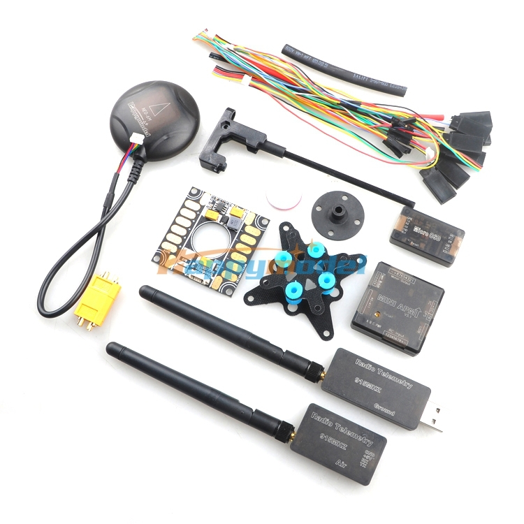 Mini APM Flight controller w/ 6M GPS + 3DR 433Mhz 915Mhz Radio Telemetry + OSD + Power Module + Damping Board FPV Combo Kits apm 2 5 3dr telemetry osd y cable red black white
