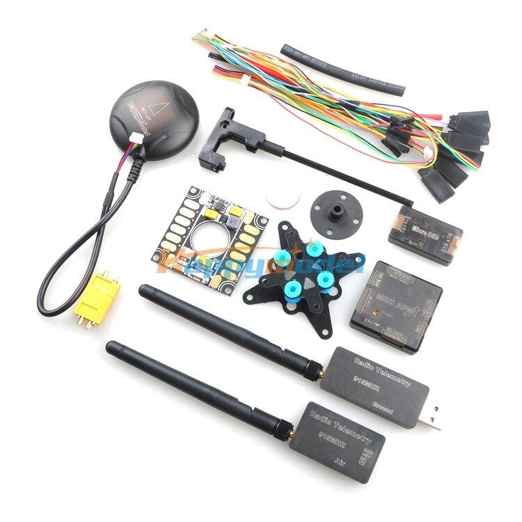 Mini contrôleur de vol APM avec GPS 6 M + 3DR 433 Mhz 915 Mhz Radio télémétrie + OSD + Module d'alimentation + carte d'amortissement Kits combinés FPV
