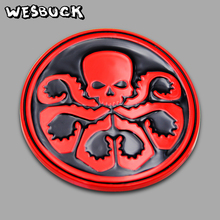 WesBuck Brand Buckle Hail Hydra Captain American Red Skull Belt With Metal Men Head Accessories Fit 4cm Wideth