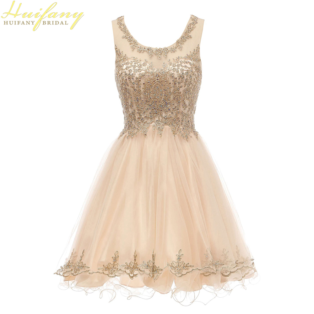 Short Sweet 16 Dresses Tulle With Gold Lace Applique Scoop Neck Junior Prom Dress See Through Back Homecoming Dress Knee Length
