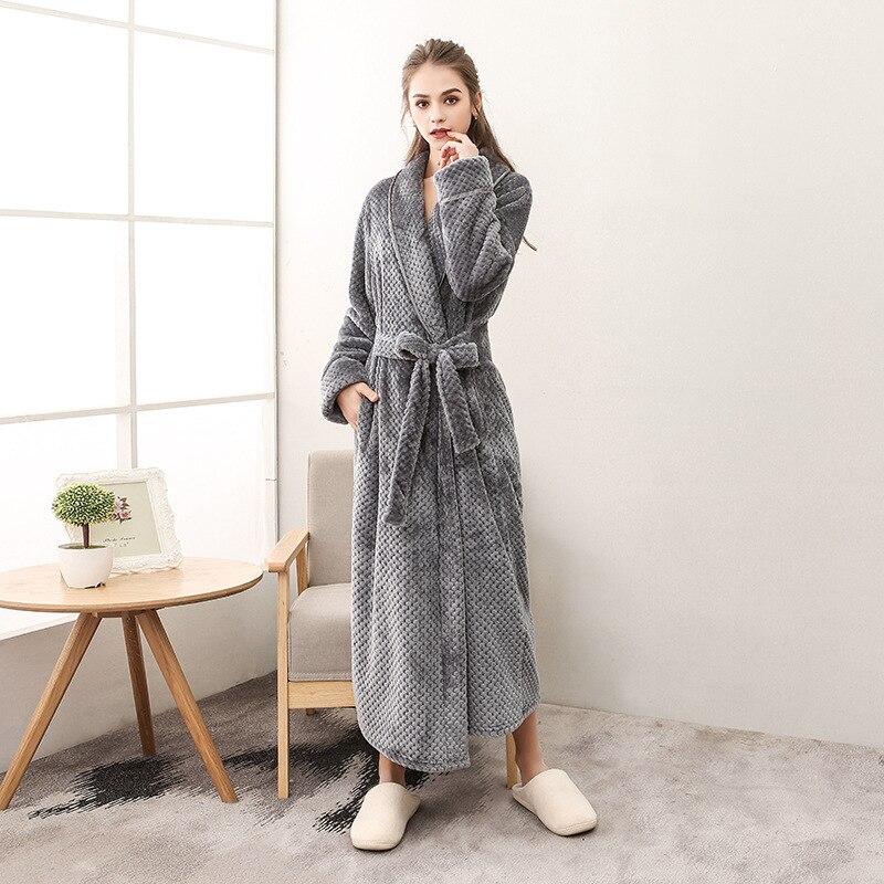 defd6b55f5 Women Flannel Robe Autumn Winter Long Couple Bathrobe Female Plus Size  Elegant Home Bath Robes Vs T