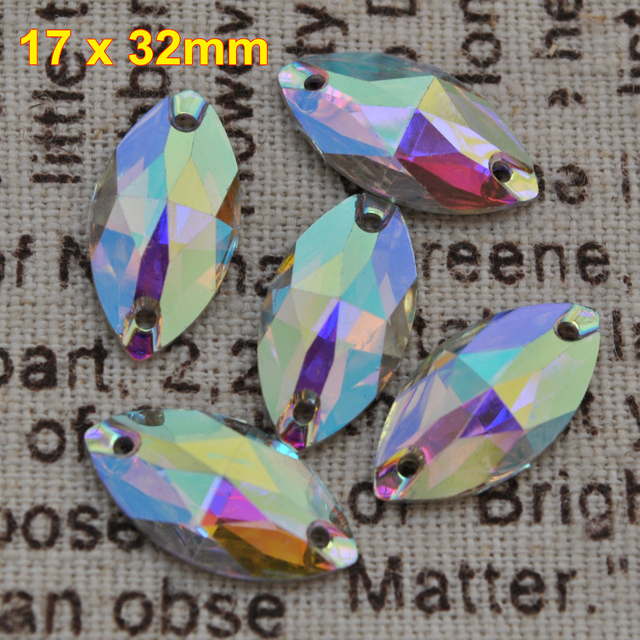 1102f27eb2 US $6.72 22% OFF|Free Shipping, 50pcs/Lot, 17*32mm Crystal AB / Clear AB  Marquise resin sew on stones flat back sewing on stones-in Rhinestones from  ...