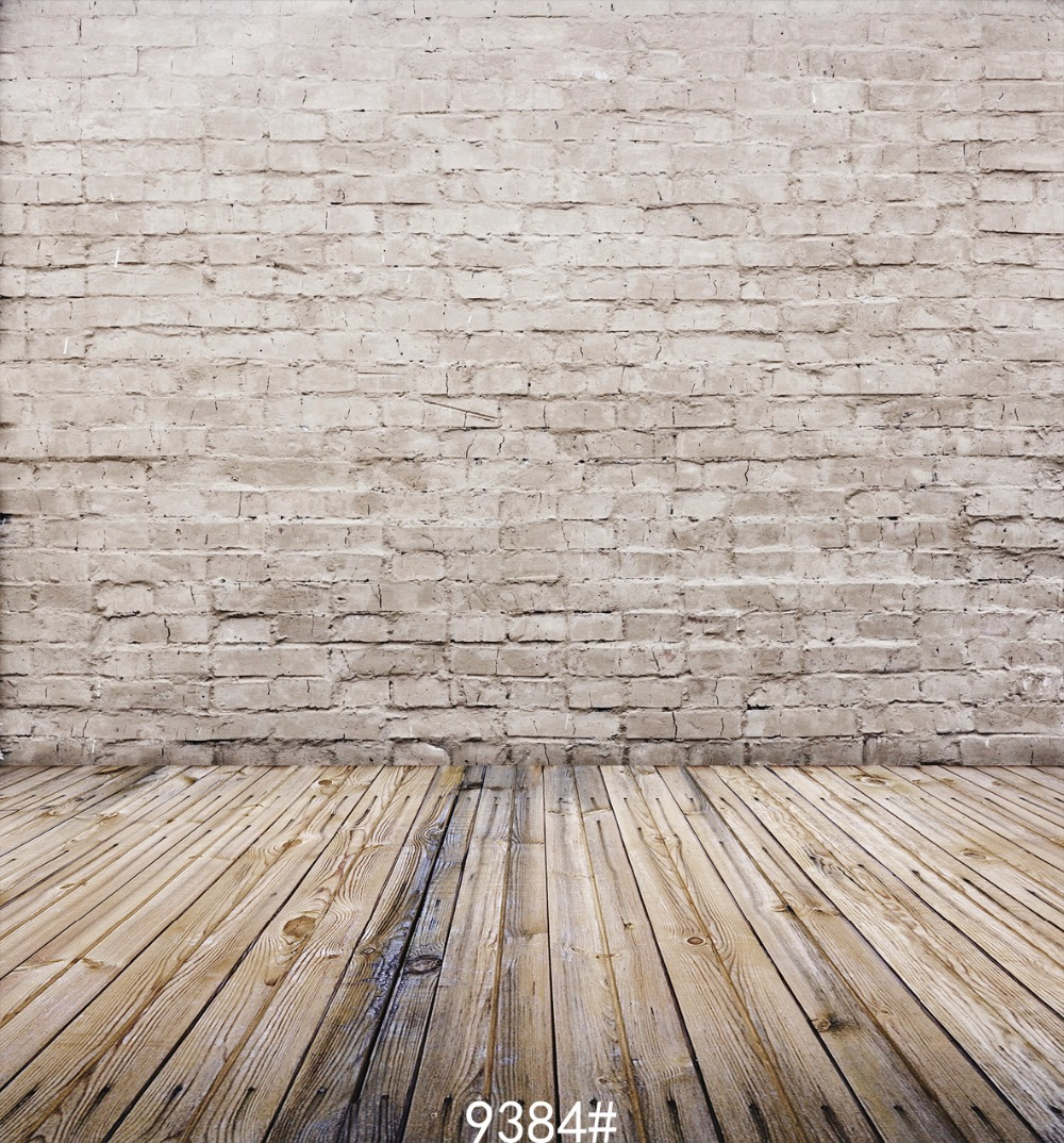 {All sizes} wood floor and white bricks photography backdrops background  photo studio wallpaper decoration backdrop - All Wood Floors Promotion-Shop For Promotional All Wood Floors On