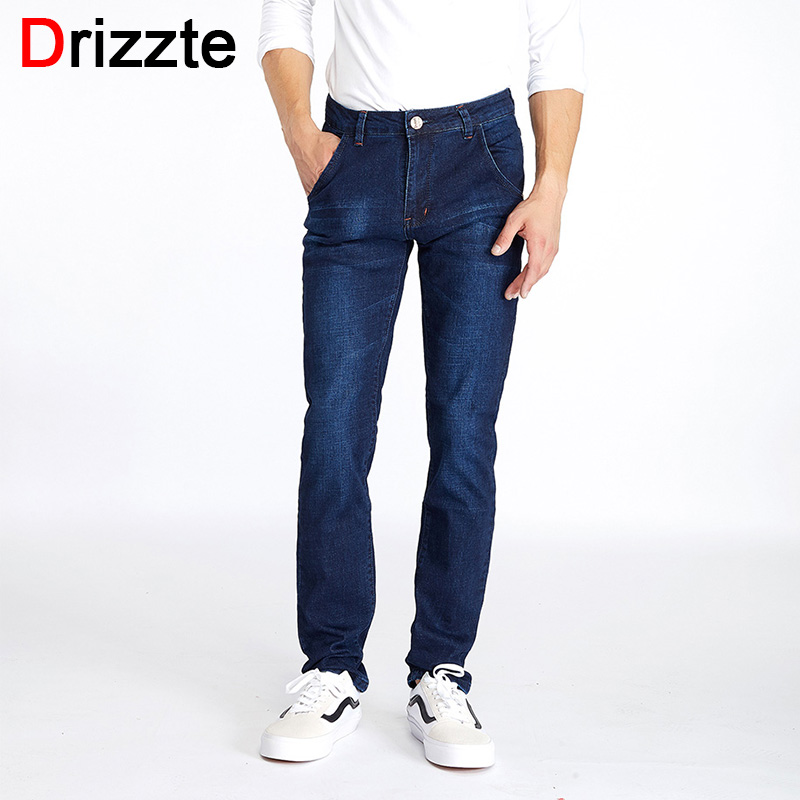 Drizzte Mens Stretch Blue Denim Jeans Trousers Pants 34 35 36 38 40 42 Sizes Man Jeans afs jeep 2017 fashion denim pants mens thin cropped trousers overalls jeans man loose jeans mans wear plus size 38 40 42 44