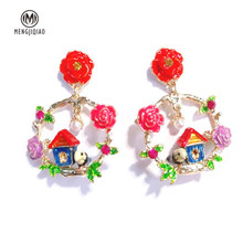 MENGJIQIAO 2018 New Baroque Style Colorful Flower Wreath Dangle Earrings For Women Cute House Vintage Drop Pendientes Mujer Moda(China)