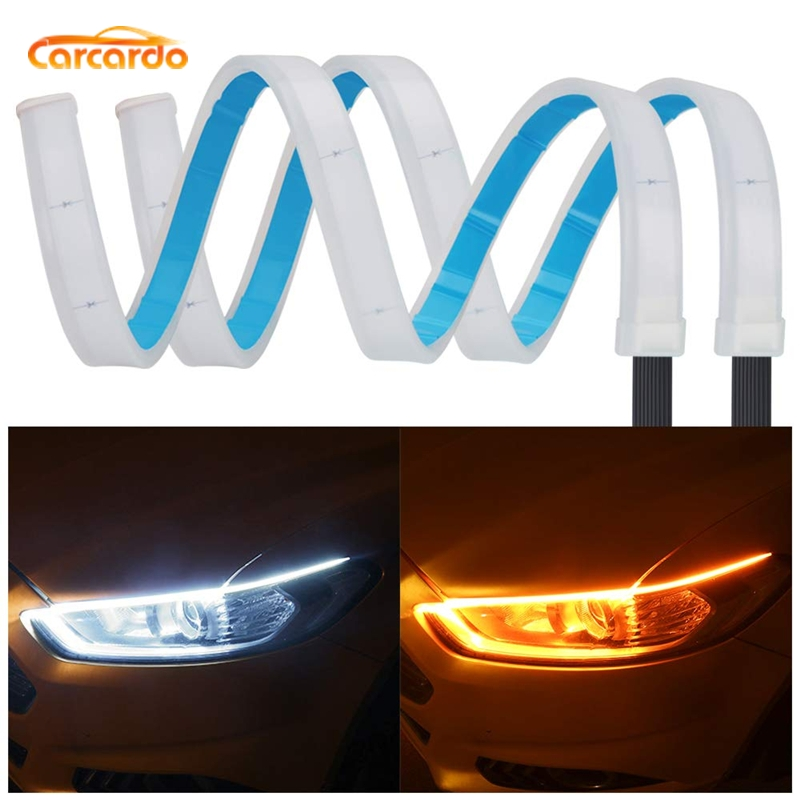 Carcardo Ultrafine Car DRL LED Strip Daytime Running Light Car Turn Signal Guide Strip For Headlight Assembly DRL Strip
