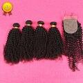 Top Hair Products Grade 7A Curly Virgin Hair 4 Pieces Brazilian Virgin Hair Bundles With Silk Base Closure Total 5PCS/Lot 100%