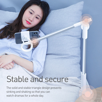 Baseus Foldable Mobile Phone Holder Adjustable Long Arm Lazy Phone Holder Clip Desk Tablet Mount Holder Stand For iPhone Samsung